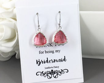 Clearance Dangle Earrings Bridesmaids Earrings Gift for Her Fuchsia Hot Pink Pink Wedding Jewelry Dangle Earrings Gift under 10