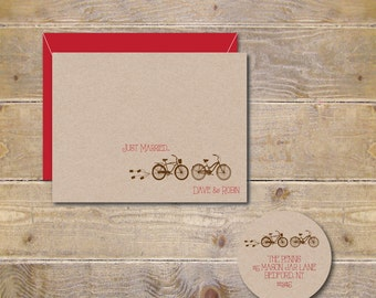Bicycle Wedding Thank You Cards, Tandem Bike, Bicycle Bridal Shower Thank You Cards, Bike Thank You Cards, Rustic Wedding Cards