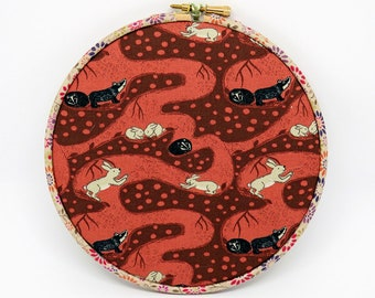 Memo Board, Hoop Art Decoration - Bunny Tunnels fabric , Pin Board, wall art