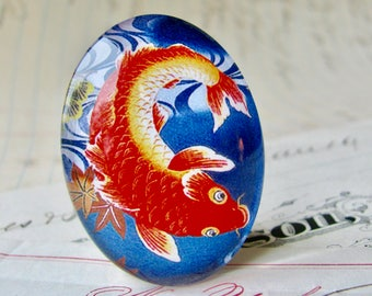 Magical koi fish, 40x30mm handmade glass oval cabochon, orange goldfish, large Asian fish, tattoo motif, blue background, koi pond