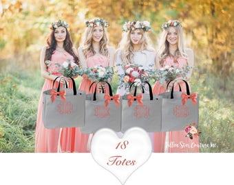 18 bridesmaid tote bags , bridesmaid gifts , tote bag , beach bag , bachelorette party gift ,wedding bag