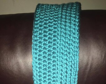 Crochet Aqua Blue Infinity Scarf