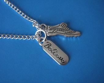 Running Necklace Gift for a Runner Marathon Run Running Shoe Believe Charm