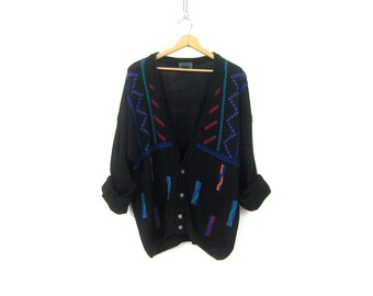 Long 90s Slouchy Sweater Black RETRO Abstract Cardigan Saved By the Bell Geometric Graphic Knit cardigan Oversize Women's size XL