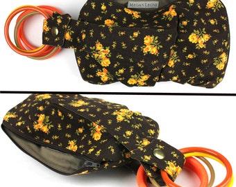 Vibrant Orange Yellow & Brown Sweet Floral Bracelet Wristlet Purse