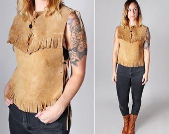 Vintage Leather Side Tie Fringe Top - Boxy Retro Navajo Southwest Boho Brown Vest Shirt Festival Weat Suede - Size Small