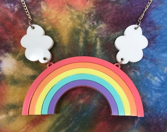 Rainbow and clouds necklace, custom colours in laser cut acrylic