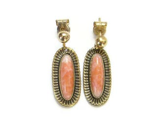 Vintage Coral and Gilt Pierced Post Dangle Earrings