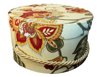 Small Hat Box in Yellow Floral, Stacking Boxes, Gift Box, Fabric Covered Box, Nesting Boxes, Storage Box, French Cottage, Box with Lid