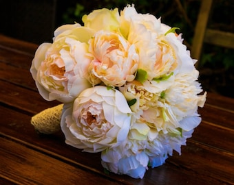 Bridal Bouquet, Garden Rose Peony   Romantic Bouquet, Ivory, White, Pale Pink fabric flowers Wedding Bouquet, one pf a kind