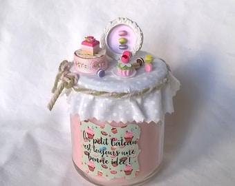 """Bougie rose """"Un petit gâteau est toujours une bonne idée"""""""