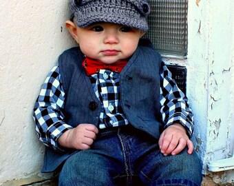 Crochet Baby Newsboy Cap, Gray Baby Newsboy Hat, Baby Boy Newsboy Cap, 0-3,3-6,6-9,9-12,12-18  Months Size, Grey Hat, SHIPS WITHIN 1-2 WEEKS