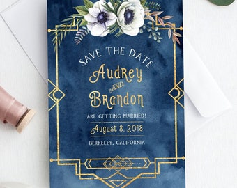 Save-The-Date postcard, Wedding Announcement, Art Deco, Printable Save the Date, Watercolor Engagement Card, Navy and Gold, 1920, Watercolor