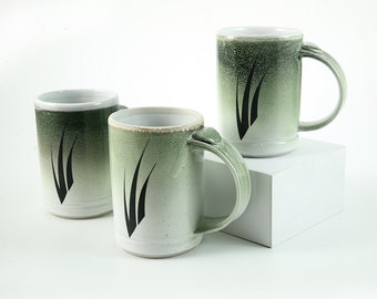 Green Mist • 3 Grass Mugs in Beautiful feathered pastel colors
