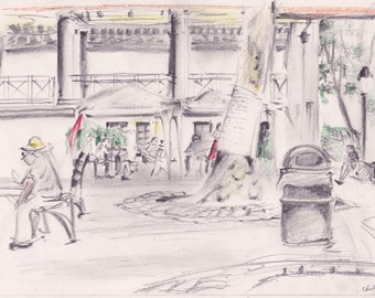 Columbus Park in Chinatown - print of original color pencil sketch - on acid free drawing paper