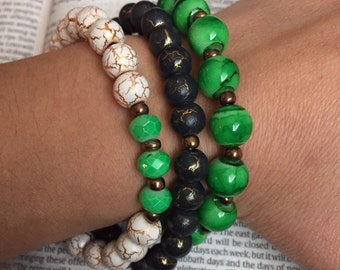 Green Stack Trio Bracelets
