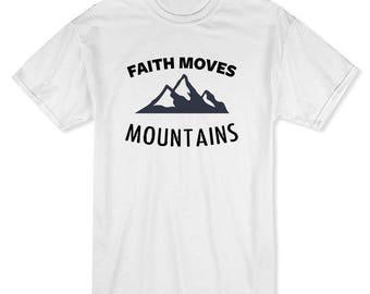 Faith Moves Mountains Rocky Mountains Men's White T-shirt