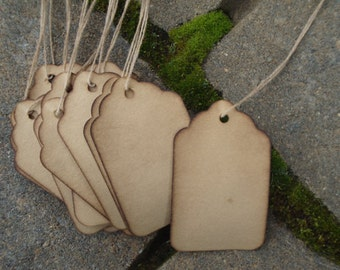 """50 Scalloped Stained Hang Tags, sized 2 3/4"""" x 1 11/16"""", Vintage tags, Antique tags, Primitive tags"""
