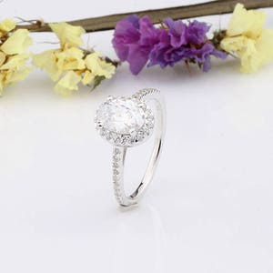 Halo Oval CZ Wedding Engagement Ring / Cubic Zirconia Ring / Anniversary Ring / Sterling Silver Ring / Gift for Her / Birthday Gift