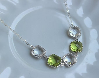 Crystal Clear Peridot Green Necklace Silver Necklace - Bridesmaid Gift Bridal Necklace Peridot Crystal Wedding Jewelry Bridesmaid Jewelry