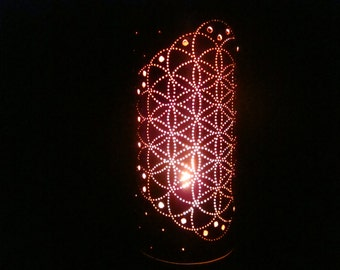 FLOWER OF LIFE Handmade Punched Copper Tealight Candle Holder Lantern Decorative Gift