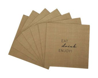 Very Cool Birthday New Years Eve Party Napkins featuring'Eat, drink, enjoy!' print  20pk