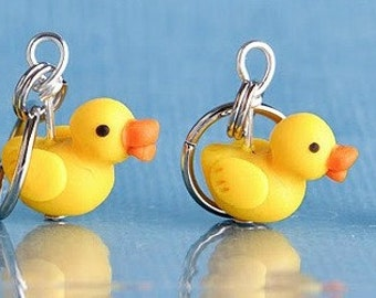Rubber Ducky Stitch Markers set of 4 Miniature Sculpted Bird Animal Knit Crochet Accessories