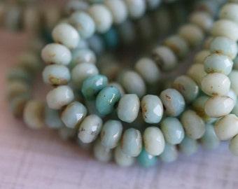 3x5mm Rondelle - Light Mint Mix - Pale Green Mix - Czech Glass Beads - Fire Polished Beads - 3x5mm Donut Mix - BeadSoup