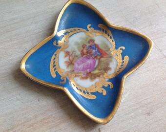 Mini tray antique Limoges porcelain, display or Doll House