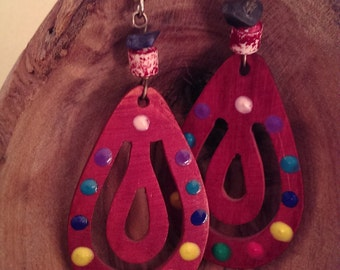 Upcycled Handmade Wooden Colorful Chakra Dangle Earrings