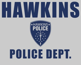 Hawkins Police Dept. Shield - Men's Unisex T-Shirt - Sci-Fi Geek TV Parody Clothing