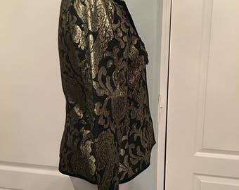 Vintage Lillie Rubin Black Gold Lame Floral Tassel Jacket with Velvet Trim