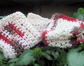Auburn Stripes Hand-Crocheted Dishcloth/Washcloth Set in Ecru, and Gradient Reds and Browns