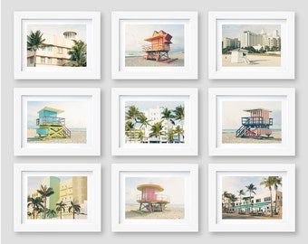 Miami Beach Prints, South Beach, Lifeguard Stands, Architecture, Palm Trees, Florida, Gallery Wall Art, Set of 9, 5x7, 8x10, SALE