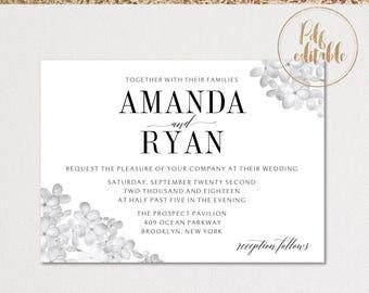 Wedding Invitation Template Download, Printable Editable PDF Wedding Invitation. Floral Wedding Invitation. Instant Download. PDF invitation