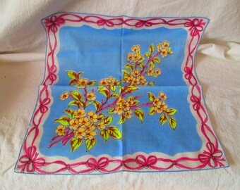 Bright Blue Floral Unused Mid Century Cotton Printed Hankie Handkerchief 15x15