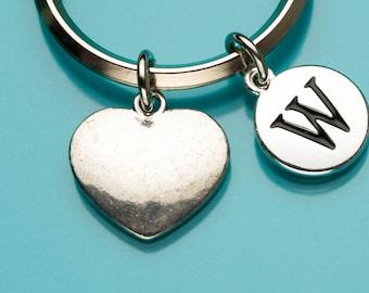 Heart Keychain, Plain Heart Key Chain, Heart Key Ring, Romantic Gift, Personalized Keychain, Custom Keychain, Charm Keychain, 902