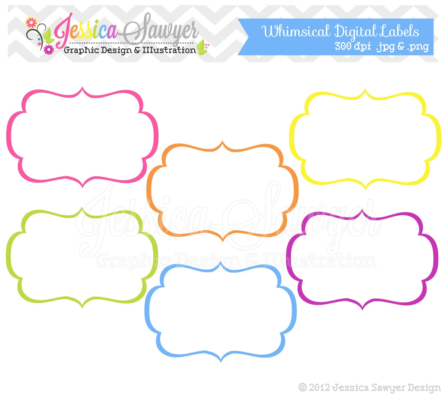 INSTANT DOWNLOAD whimsical labels tag clipart printable