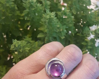 Crescent moon , amethyst ring- statement jewelry