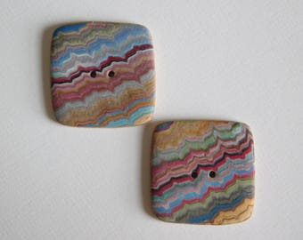 "Pair of Polymer Clay Buttons, 7/8"" square sewing buttons"