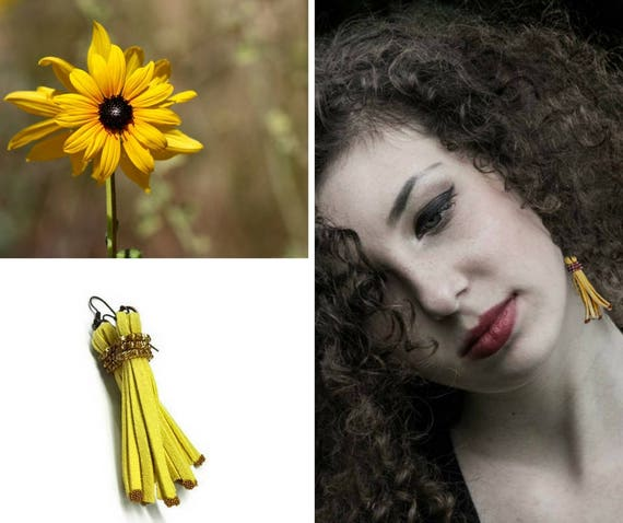 Yellow Tribal Leather Tassel Dangle Earrings