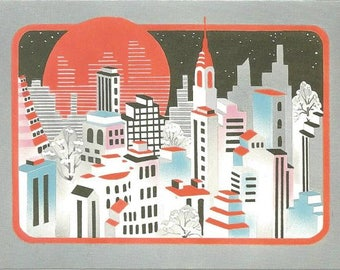 Retro Christmas Cards Artis Paper Company Art Deco Style 14 Never Used Cards Vintage Christmas Cards