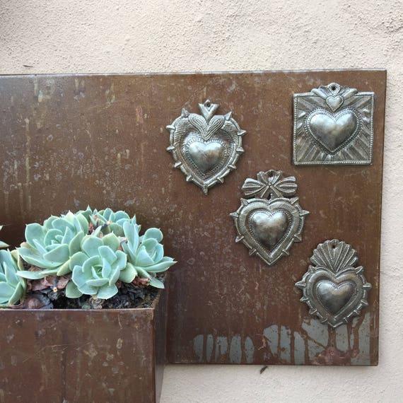 Milagro Sacred Heart, (set of 4) Haitian Metal , Recycled Art