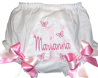 Personalized Pinks Butterflys Birthday Baby Girl  Bloomers, Diaper Cover