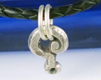 Petite Question Mark Fine Silver Pendant - Handmade Fine Silver Question Mark Pendant Gift - Unique Fine Silver ? Mark Amulet Gift