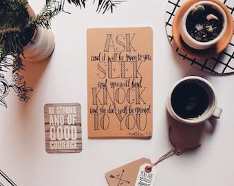 Scripture gift, Prayer journal, Mother's Day gift, bible journaling, Matthew 7:7 prayer journal, notebook, gifts for her under 30,