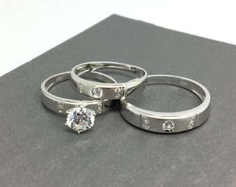 925 Sterling Silver Trio-Ring Set