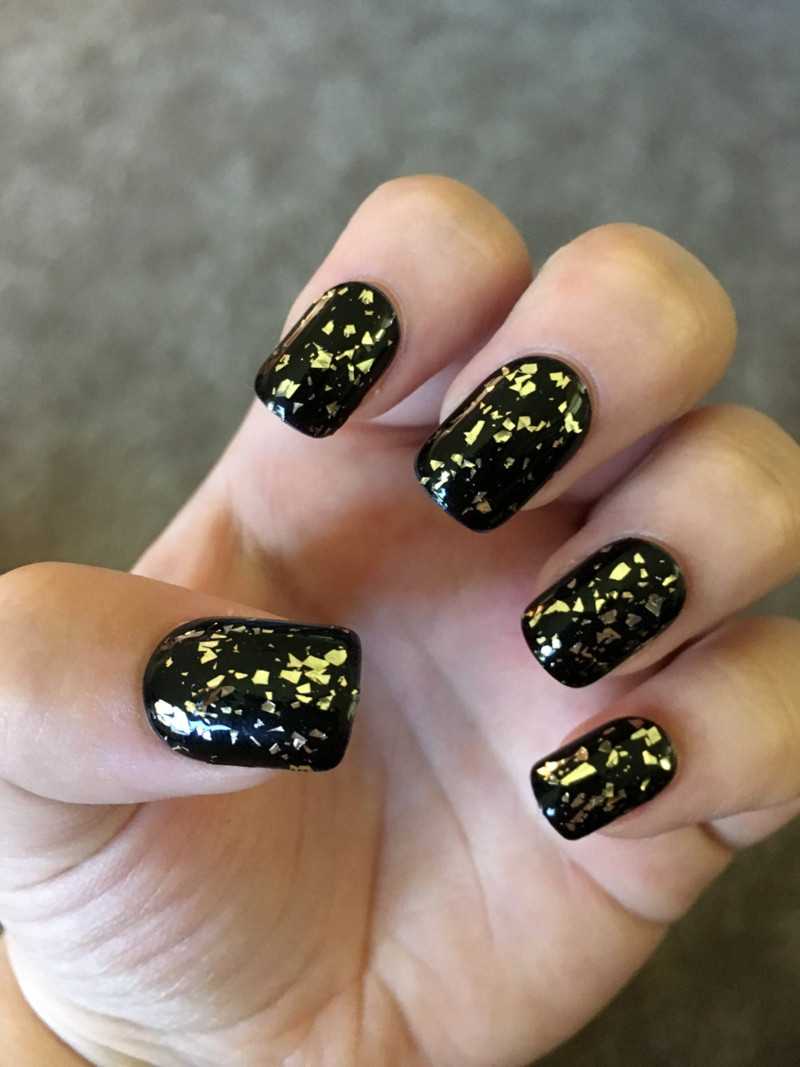 Black with Gold Flakes Fake Nails | Press On | Glue On Nails ...