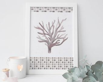 Sea Fan Art, Neutral Bathroom, Coastal Bathroom Decor, Coastal Wall Art, Coral Poster, Coral Print, Living Decor, Beach Cottage Poster