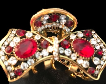 New  Antique Gold With Ruby Crystal & Rhinestone Bow 2 '' Hair Claw Clip